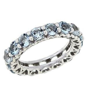 Colleen Lopez Sterling Silver Aquamarine Eternity Band Ring Size 6 Hsn!