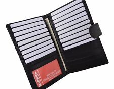 Eel Skin Leather Credit Card Holder Wallet 19 Card Slots & ID Window with Snap