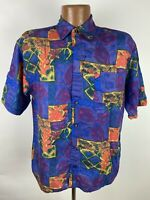 Vintage 90s PERMIT Floral Silk Shirt Men's Small Purple Colorful Crazy Abstract