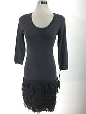 Calvin Klein NWT CHARCOAL long sleeves tired fringes hem  size S PS PM PL PXL