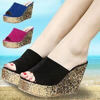 Womens Beach High Wedge Heels Platform Open Toe Mules Sandals Casual Slippers Nw