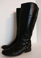 Frye Tall Leather Phillip Harness Riding Boot 9.5 Black Side Zip Melissa Button