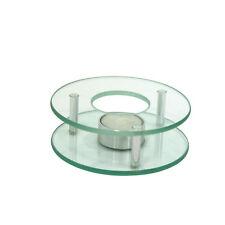 Stövchen Chrom/Glas 125 mm rund Speisewärmer Teewärmer Warmhalteplatte