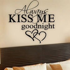 Removable Wall Stickers Always Kiss me Goodnight Love Quote Bedroom Decals Art