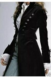 Newport News Women's Size 8 Black Velvet Gothic Steampunk Military Buttons Coat
