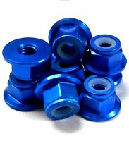 102049BL 1/10 RC Car Alloy M4 4mm Thread Nylon Lock Nuts x 10 Light Blue Flanged