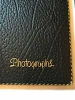 VTG PHOTO ALBUM by HORN - gold black trim - Black Pages Scrapbook PRISTINE!