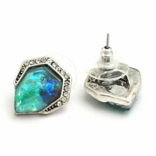 New Silver Plated Vintage Fashion Jewelry Blue Green & Crystal Gem Stud Earrings