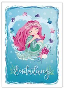 Einladungskarten Meerjungfrau Kindergeburtstag Einladungen Geburtstag Mädchen