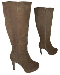 LADIES TAUPE FAUX SUEDE SKINNY HEELED OVER THE KNEE BOOT SIZE 3 - 8