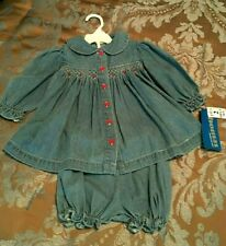 ~ Vintage New ~ Thomas Blue Jean Baby ~ Smocked Dress & Bloomers ~ 18 Mo