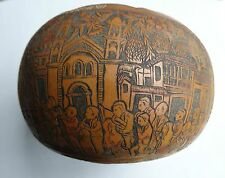 Exceptionally Rare South American Hand Carved Gourd Contaier, Museum Quality