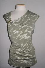 MICHAEL MICHAEL KORS SZ MED.SAFARI GREEN  GATHERED SHOULDER SLEEVELESS BLOUSE