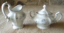 Vintage Johann Haviland China Creamer, Sugar Bowl with Lid Blue Garland Wedding
