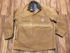 Mens Vtg Carhartt Duck Blanket Lined Rancher Work Chore Coat Jacket 50L USA