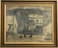 Niels Erik Lange 1890-1919 Bauernhof mit Hühnern Dänemark New York 71 x 86 cm