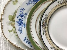 Mismatched China Salad Plates Set of 4 ~ Blue & Green Florals ~ 3 are Limoges