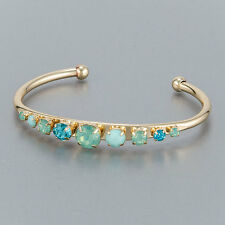 Gold Simple Multi Colored Open Cuff Designer Inspired Bangle Bracelet
