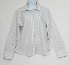 Jones New York Woman's No Iron Pinstriped Button Front Long SleeveBlouse Size 10