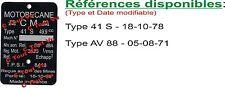 PLAQUE CONSTRUCTEUR MOTOBECANE détaillée - 41S & AV88  - VIN PLATE MOTOBECANE