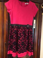 DKNY Girls'   Dress - Sizes L FABRIC/LACE LIPSTIK PINK
