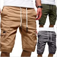 Men's Elastic Waist Cargo Shorts Drawstring Outdoor Work Short Summer Half Pants