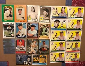 TOPPS BASEBALL = MICKEY MANTLE LOT OF 24 CARDS = UD & PACIFIC = MODERN NM/M
