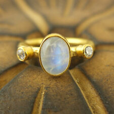 Handmade Hammered Designer Moon Stone Ring 24K Gold Over 925K Sterling Silver