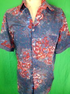 Vintage 70s Blue & Red Patterned Hosma Short Sleeve Disco Festival Party Shirt L