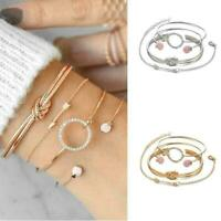4Pcs/Set Ladies Gold Arrow Knot Crystal Round Opening Bangle Bracelet C9X8 W0V3