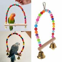 Pet Birds Cockatiel Budgie Swing Bell Hanging Swing Rope Cage Training Toys