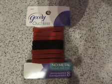 8 Goody Ouchless Gentle Elastics - Soft Fabric No Metal Bands Brown & Rust Color