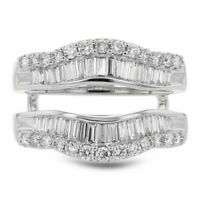14K White Gold Over Double Enhancer Solitaire 2.15ct Diamond Wedding Wrap Ring