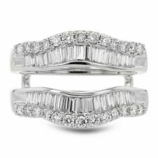 Solitaire 2.15ct Diamond Wedding Wrap Ring 14K White Gold Over Double Enhancer