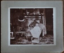 Antique Photo Standing Baby White Bassinett Victorian Living Room Early 1900s