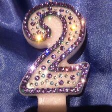 Number Two 2 Birthday CANDLE Diamante Purple Princess Frozen Party FREEPOST