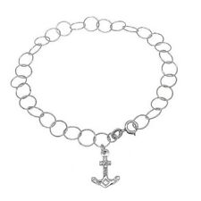 """925 Sterling Silver Diamond Cut Anchor Link 10"""" Inch Anklet"""