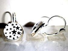Ohrringe Sterne Zeichen Damen Ohrschmuck Modeschmuck Leverback Cabochon Weiß