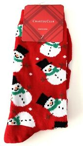 CHARTER CLUB Christmas Crew Socks Snowman Red Size 9-11