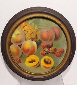 """Antique Framed Still Life Fruit Print 13"""". Antique Oval Original Frame & Glass."""
