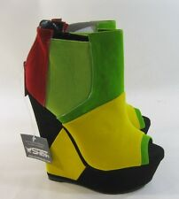 "Yellow/Green 6 High Wedge Heel 2"" Platform Open Toe Ankle Sexy Boot Size 5.5"