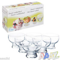 6x Ice Cream Sundae Glass Footed Appetiser Cocktail Fruit Pudding Dishes Dessert