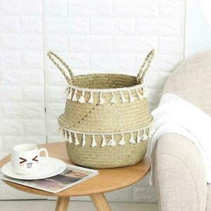 Seagrass Woven Storage Wicker Basket Flowers Plants Straw Bag Decors Pots O3L9