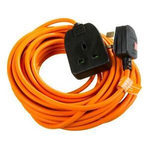 Masterplug Heavy Duty Outdoor Electrical Plug Socket 10m Extension Lead - Orange