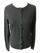 Hobbs London Grey Silk Cotton & Cashmere Blend Cardigan Size 14 Uk VGC