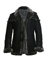 Brandslock Men's Black Aviator Spanish Merino Sheepskin Coat Thick Warm Winter