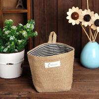 Stripe Small Storage Sack Cloth Hanging Non Woven Storage Basket Bag