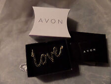 """New Avon Love Necklace Gold Coloured Necklace With Little Black Stones Chain 17"""""""