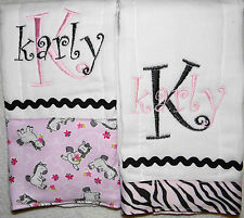 2 Pink and Black Zebra Personalized Embroidered Burp Cloths