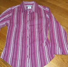 Ladies Small Columbia Sportswear Striped Button 3/4 Sleeve Seersucker Blouse Top